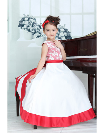 Affordable A-Line Round Neck Floor Length Color Block Satin Flower Girl Dresses with Appliques Bodice