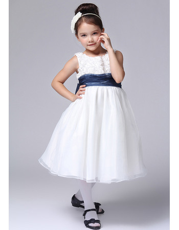 Discount A-Line Round Knee Length Organza Over Satin Flower Girl Dresses With Floral Lace Bodice