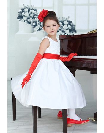 Discount Inexpensive Ball Gown Round Neck Tea Length Sash Bow Lace Satin Flower Girl Dresses with Bow
