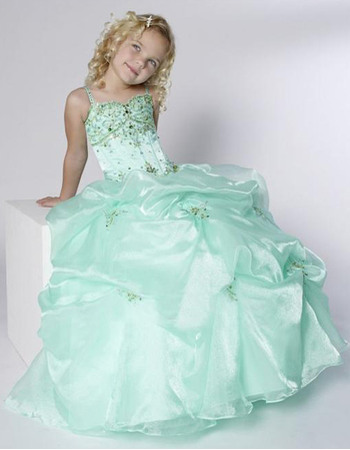 Luxury Beaded Rhinestone Ball Gown Straps Full Length Pick-up Organza Satin Girls Party Dresses