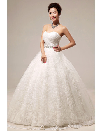 Romantic Floral Ball Gown Sweetheart Floor Length Satin Organza Wedding Dresses