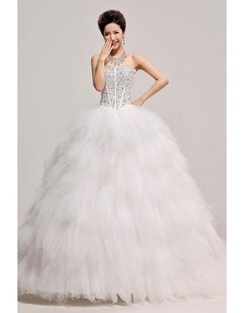 Affordbale Beaded Ruffle Ball Gown Sweetheart Satin Organza Wedding Dresses