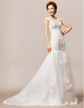 Hot Mermaid/ Trumpet Beaded Floor Length Satin Organza Wedding Dresses