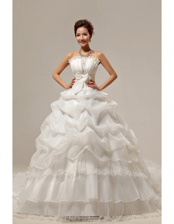 Gorgeous Ball Gown Floor Length Strapless Satin Organza Dresses for Spring Wedding
