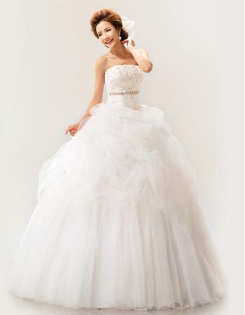 Custom Strapless Satin Organza Ball Gown Floor Length Wedding Dresses