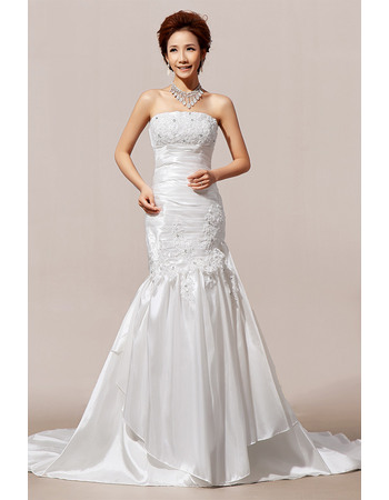 Morden Mermaid/ Trumpet Floor Length Strapless Satin Wedding Dresses