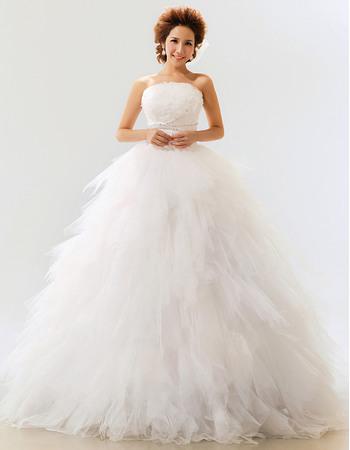 Gorgeous Ruffle Satin Organza Ball Gown Strapless Floor Length Wedding Dresses