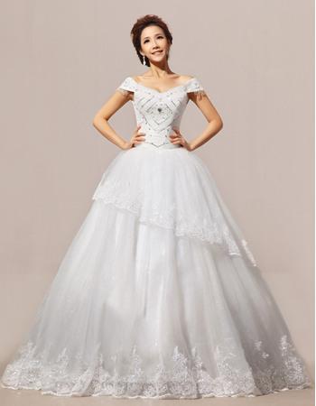 Fabulous Off-the-shoulder Ball Gown Floor Length Satin Organza Wedding Dresses