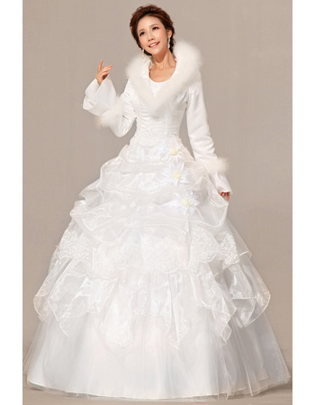 Special Long Sleeves Satin Ball Gown Floor Length Dresses for Winter Wedding