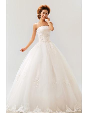 Discount Ball Gown Strapless Floor Length Satin Organza Wedding Dresses