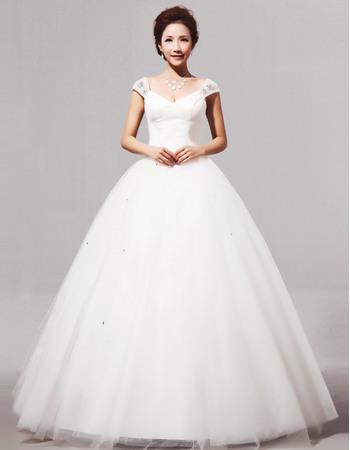 Elegant V-Neck Cap Sleeves Ball Gown Long Satin Dresses for Spring Wedding