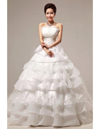 Gorgeous Tiered Skirt Ball Gown Strapless Floor Length Wedding Dresses