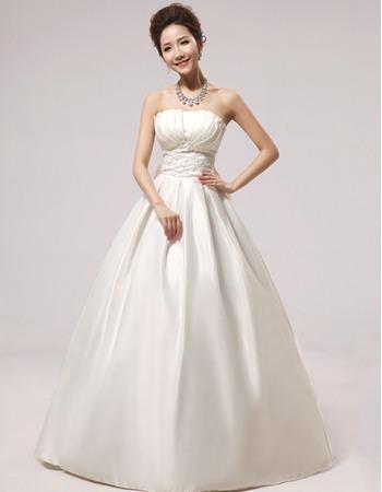 Affordable Simple A-Line Strapless Floor Length Satin Wedding Dresses