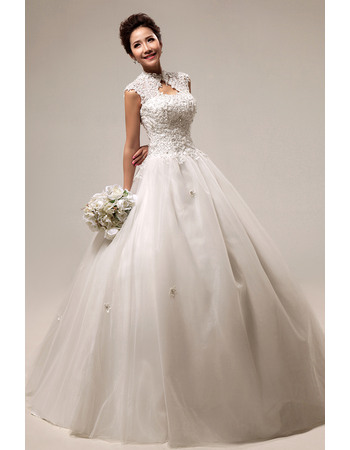 Elegant Mandarin Collar Lace A Line Floor Length Satin Organza Wedding Dresses