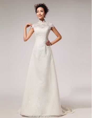 Discount Satin Lace Mandarin Collar Cap Sleeves A-Line Floor Length Wedding Dresses