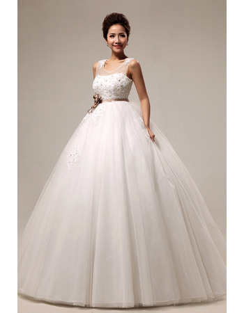 Custom Empire Ball Gown Round/ Scoop Floor Length Satin Organza Dresses for Spring Wedding