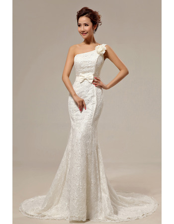 Stylish Hot Mermaid One Shoulder Lace Court Train Lace and Satin Wedding Dresses for Spring