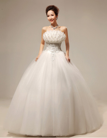 Discount Ball Gown Strapless Floor Length Organza Satin Wedding Dresses with 3D Flowers