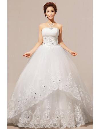 Newest Ball Gown Strapless Floor Length Satin Organza Wedding Dresses