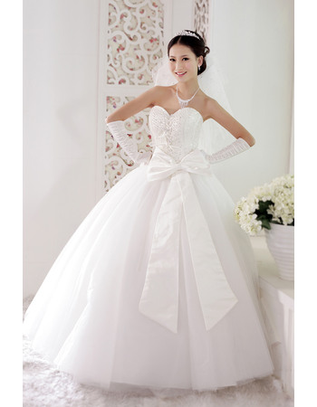Gorgeous Ball Gown Sweetheart Floor Length Beaded Organza Satin Dresses for Spring Wedding