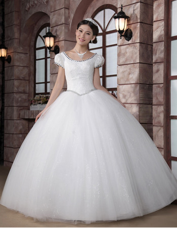 Empire Cap Sleeves Ball Gown Scoop Floor Length Satin Organza Wedding Dresses