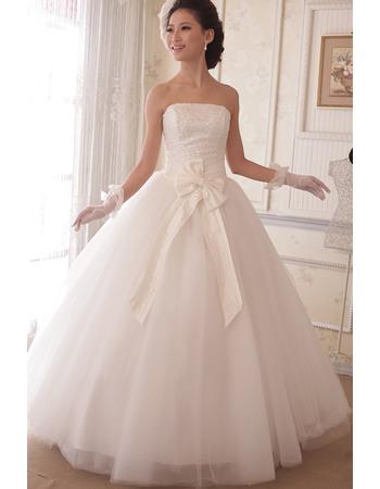 Charming Ball Gown Strapless Floor Length Satin Organza Sequin Wedding Dresses