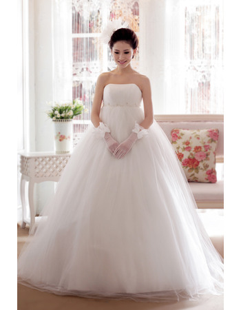 Fall Newest Empire Waist Strapless Floor Length Satin Organza Wedding Dresses