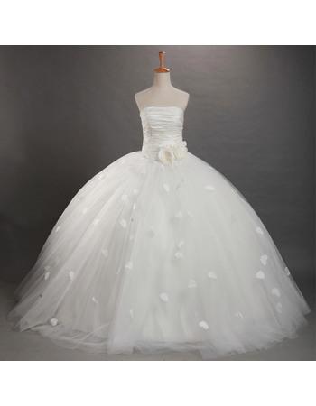 Discount Ball Gown Applique Floor Length Strapless Taffeta Organza Wedding Dresses
