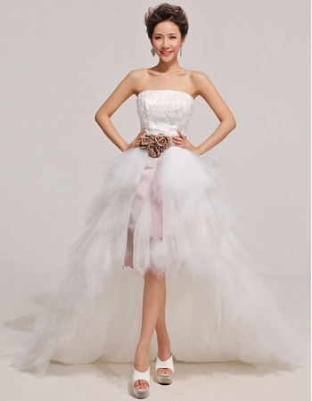 Discount A-line High-Low Strapless Satin Tulle Wedding Dresses with Layered Skirt