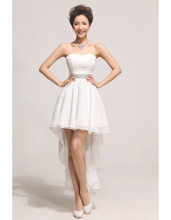 Sexy A line Asymmetric High-Low Chiffon Sweetheart Empire Dresses for Summer Wedding