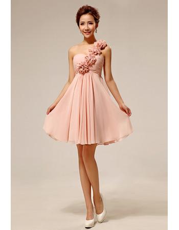 Chic One Shoulder Chiffon Satin Empire Short/ Mini Bridesmaid Dresses