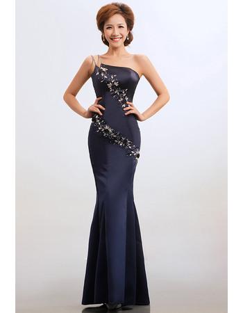 Sexy Mermaid/ Trumpet One Shoulder Floor Length Satin Bridesmaid Dresses