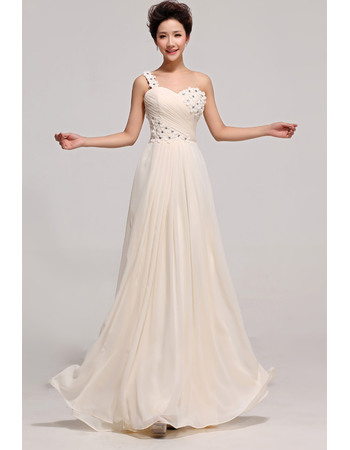 Newest One Shoulder Chiffon Floor Length A-Line Bridesmaid Dresses