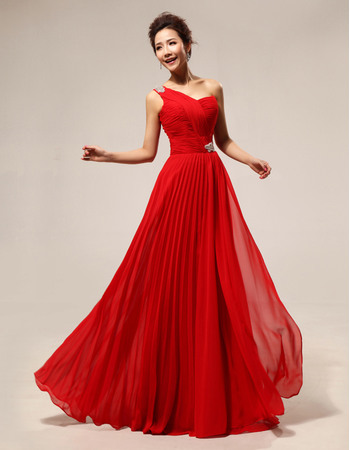 Modest One Shoulder Chiffon Floor Length Sheath Bridesmaid Dresses for Wedding Party