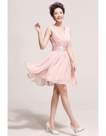 Nice Short Chiffon V-Neck A-Line Bridesmaid Dresses for Summer/ Spring