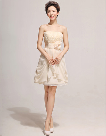 Popular Short Chiffon Strapless A-Line Bridesmaid Dresses for Wedding Party