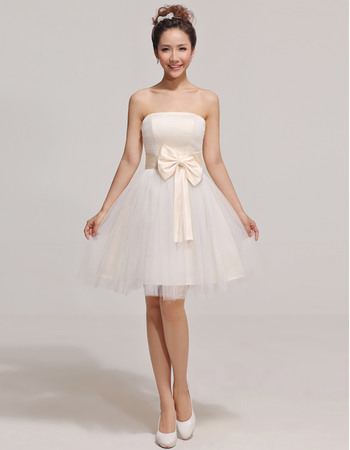 Pretty A-Line Strapless Short/ Mini Satin Organza Bridesmaid Dresses