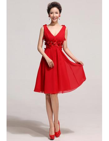 Beautiful V-Neck Knee Length Red Chiffon Organza A-Line Bridesmaid Dresses