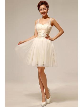 Custom Straps Short/ Mini A-Line Organza Bridesmaid Dresses for Spring Wedding