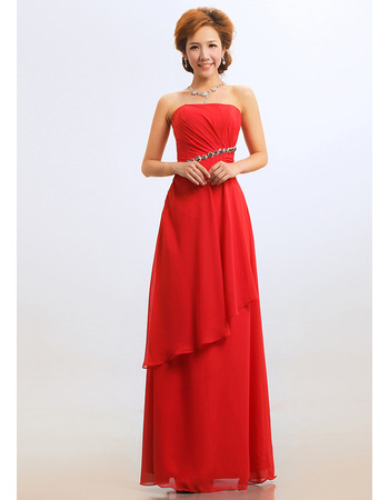 Excellent Sheath Strapless Floor Length Red Chiffon Bridesmaid Dresses for Winter
