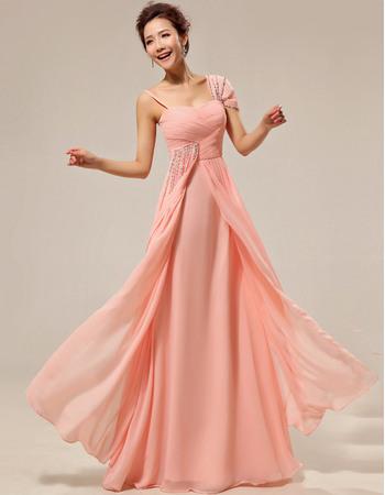 Attractive Asymmetric Chiffon Floor Length Sheath Bridesmaid Dresses