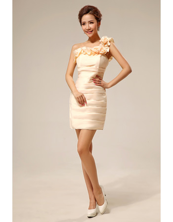 Inexpensive One Shoulder Column Short Satin Sexy Bridesmaid Dresses