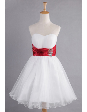 Discount A-Line Sweetheart Knee Length Organza Satin Bridesmaid Dresses