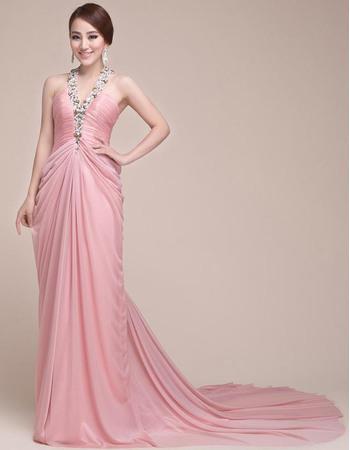 Sexy Elegant Chiffon V-Neck Court Train Sheath Evening Prom Dresses