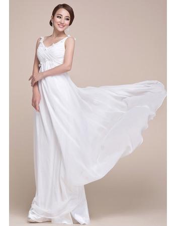 Chiffon Empire Floor Length V-Neck Formal Evening Dresses