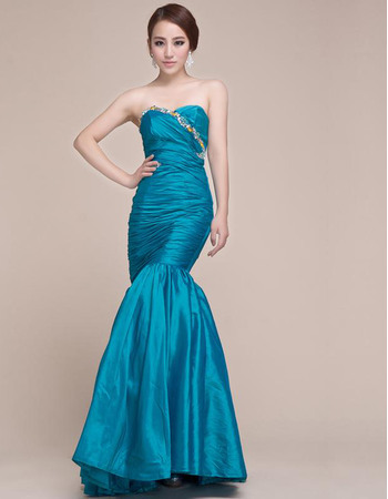 Custom Mermaid Sweetheart Floor Length Taffeta Formal Evening Dresses