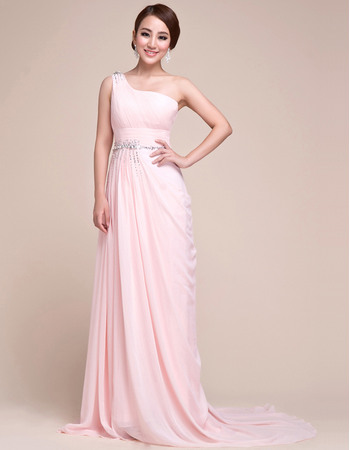 Vintage-inspired and Romantic One Shoulder Pleated Chiffon Evening Party Dresses with Beaded Waist