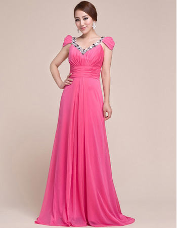 Custom Cap Sleeves Chiffon V-Neck Sweep Train Evening/ Prom Dresses
