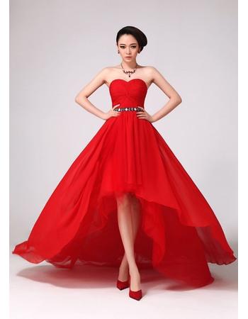 Chic A-Line Asymmetric High-Low Chiffon Floor Length Sweetheart Empire Evening/ Prom Dresses