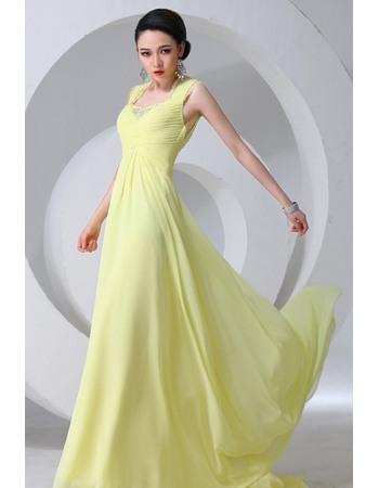Attrictive Chiffon Square Sheath Floor Length Evening/ Prom Dresses
